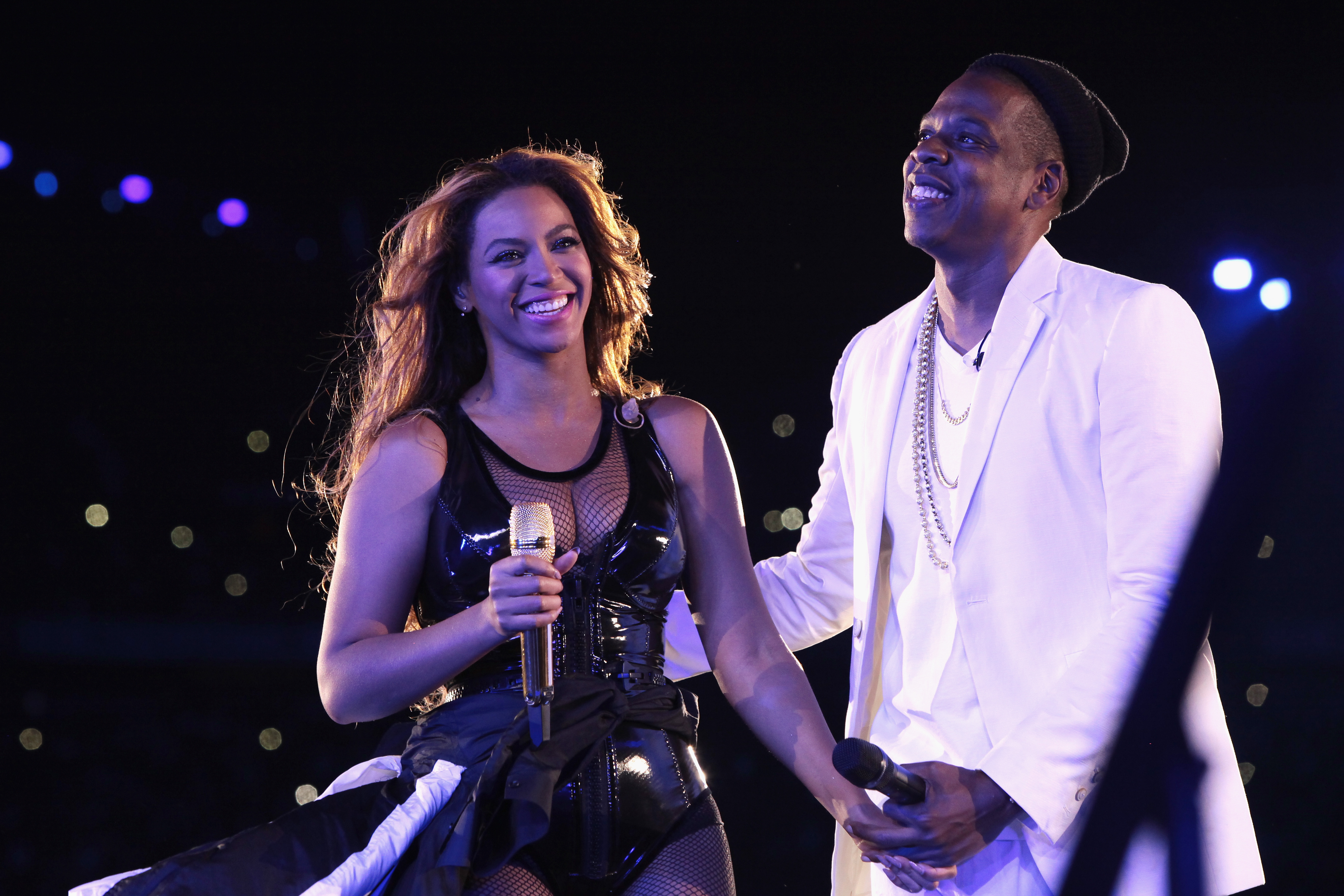 """PARIS, FRANCE - SEPTEMBER 12: Beyonce and Jay-Z perform during the """"On The Run Tour: Beyonce And Jay-Z"""" at the Stade de France on September 12, 2014 in Paris, France. (Photo by Myrna Suarez/WireImage for Parkwood Entertainment)"""